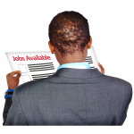 Image of a person reading a paper with the words 'jobs available'